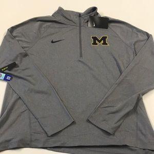🆕 NIKE University of Michigan Womens Gray 1/4 Zip